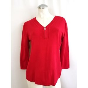 Cable & Gauge Size L Red Knit Top